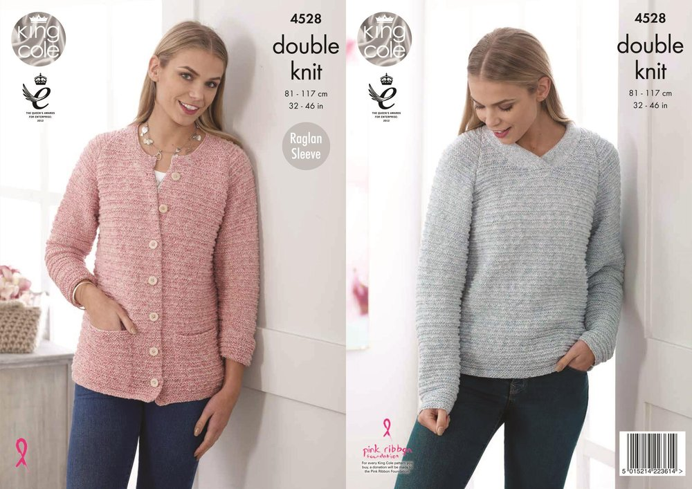 0b06466a1 King Cole 4528 Knitting Pattern Ladies Sweater Cardigan in Authentic DK -  Athenbys