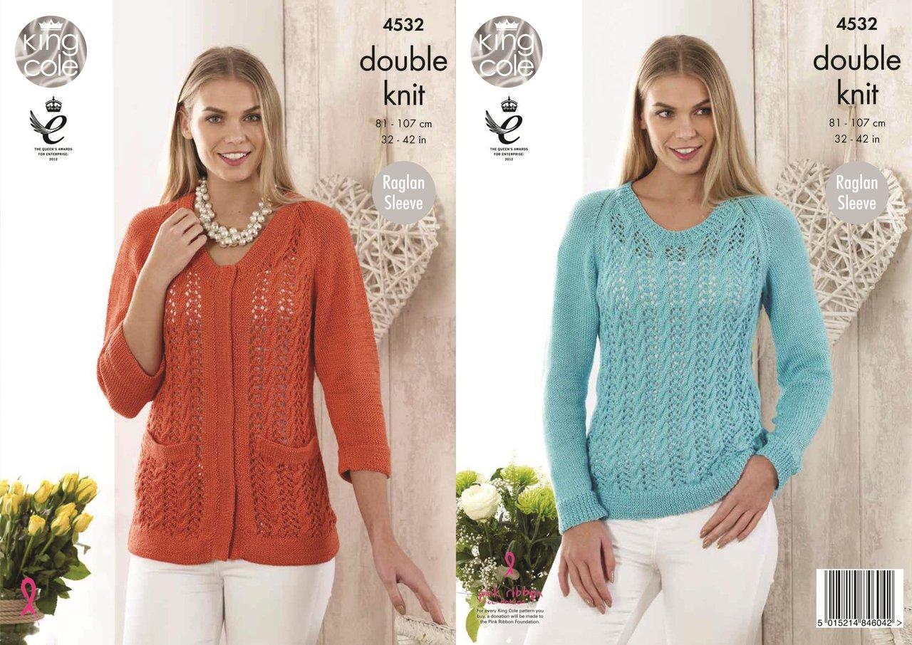 King Cole 4532 Knitting Pattern Ladies Sweater Cardigan in Giza DK ...