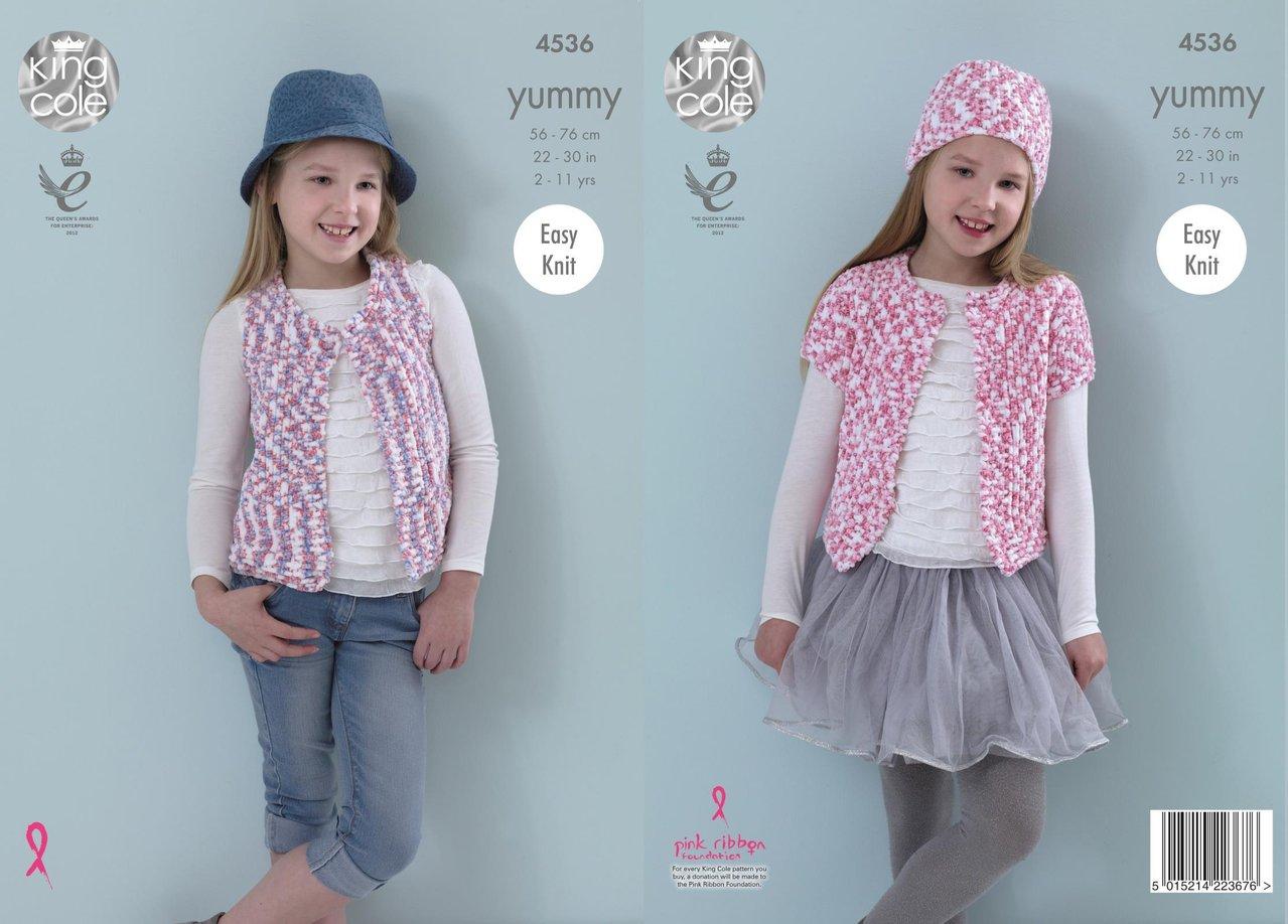 King Cole 4536 Knitting Pattern Girls Waistcoat, Cardigan & Hat in ...