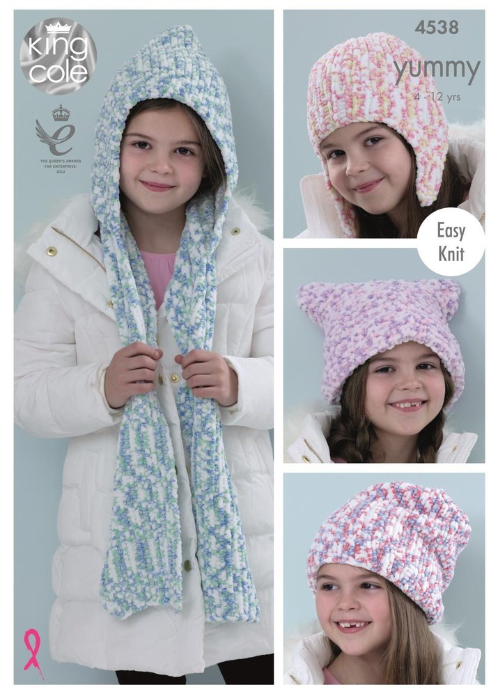 King Cole 4538 Knitting Pattern Girls Scarf & Hats to knit in King ...