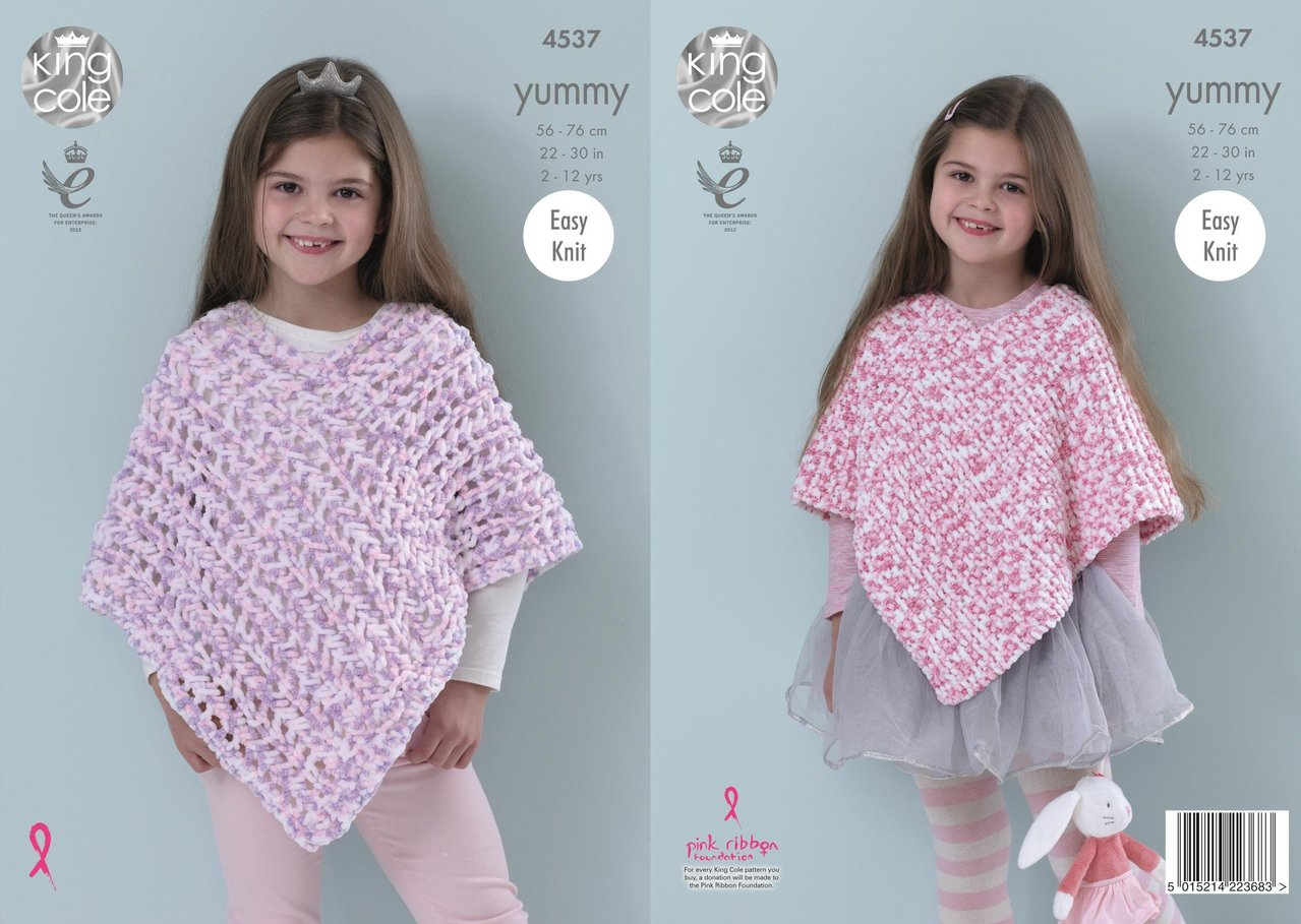 King Cole 4537 Knitting Pattern Girls Ponchos to knit in King Cole ...