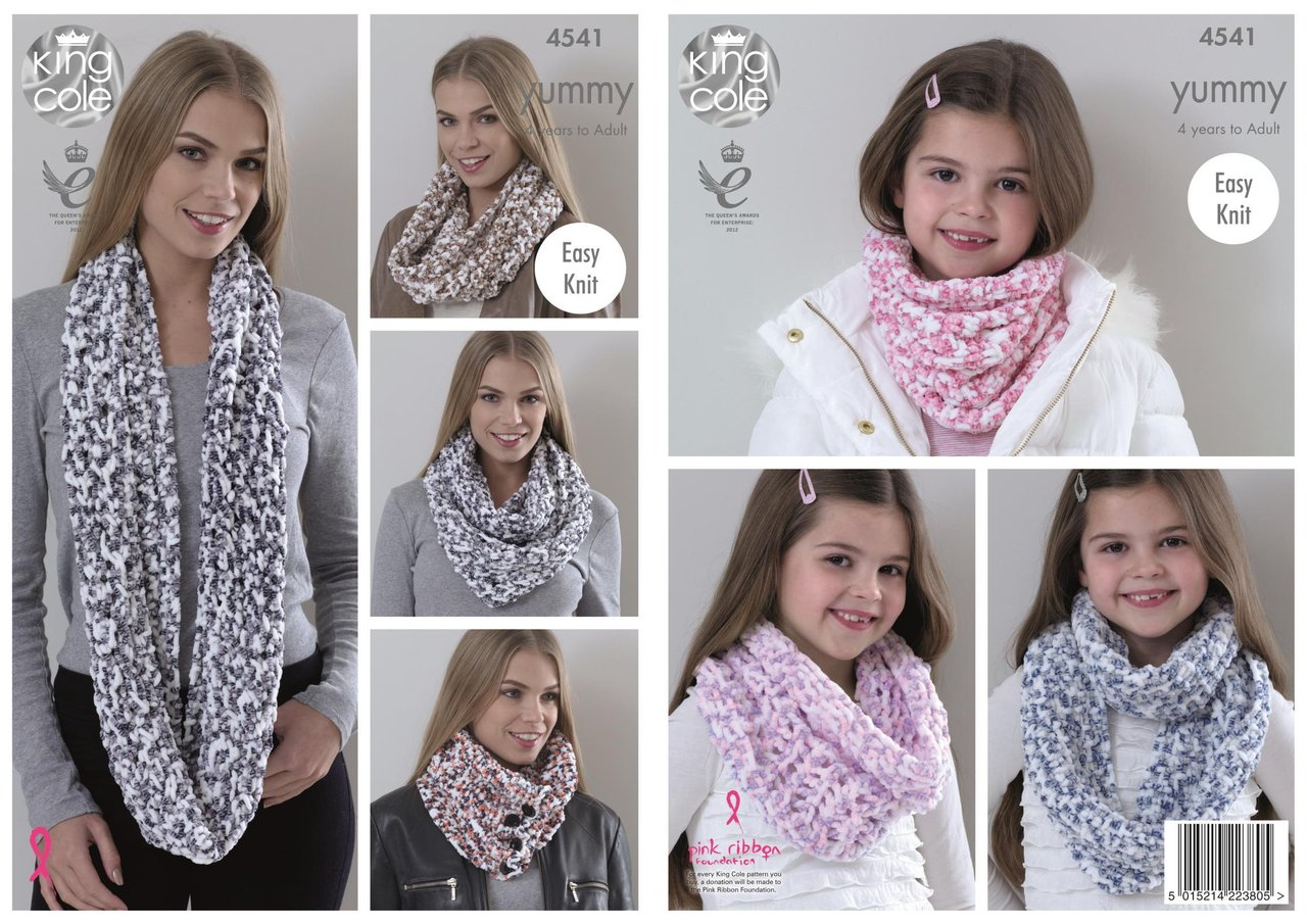 King Cole 4541 Knitting Pattern Ladies & Girls Snoods to knit in ...