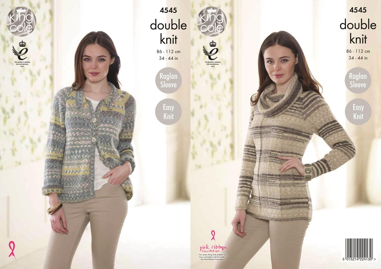 King Cole 4545 Knitting Pattern Ladies Cardigan and Sweater Drifter ...