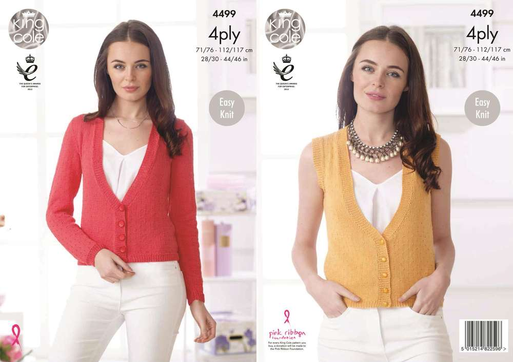 King Cole 4499 Knitting Pattern Ladies Waistcoat and Cardigan in ...