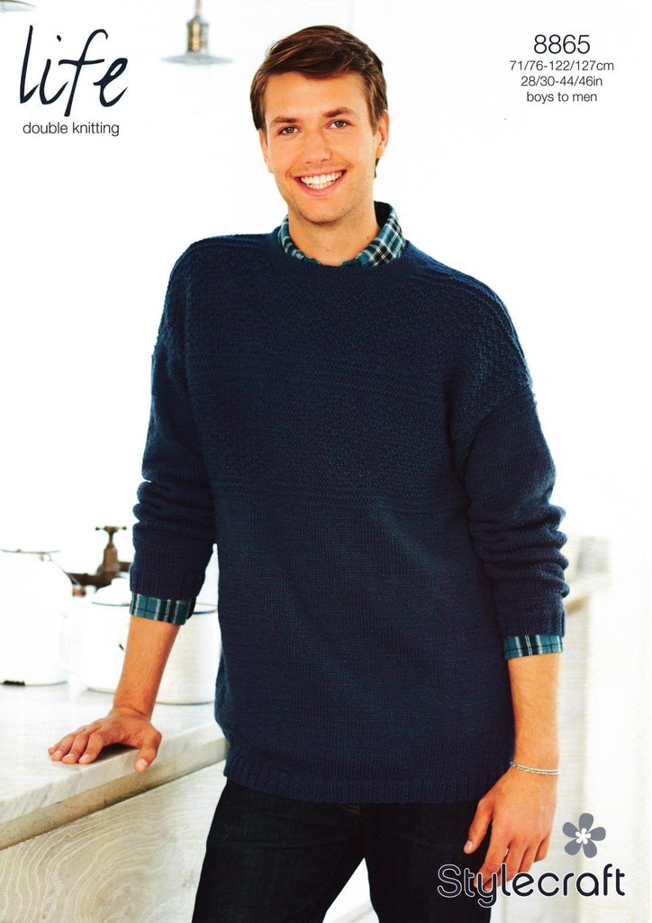 Stylecraft 8865 Knitting Pattern Mens Sweater In Life Dk Athenbys