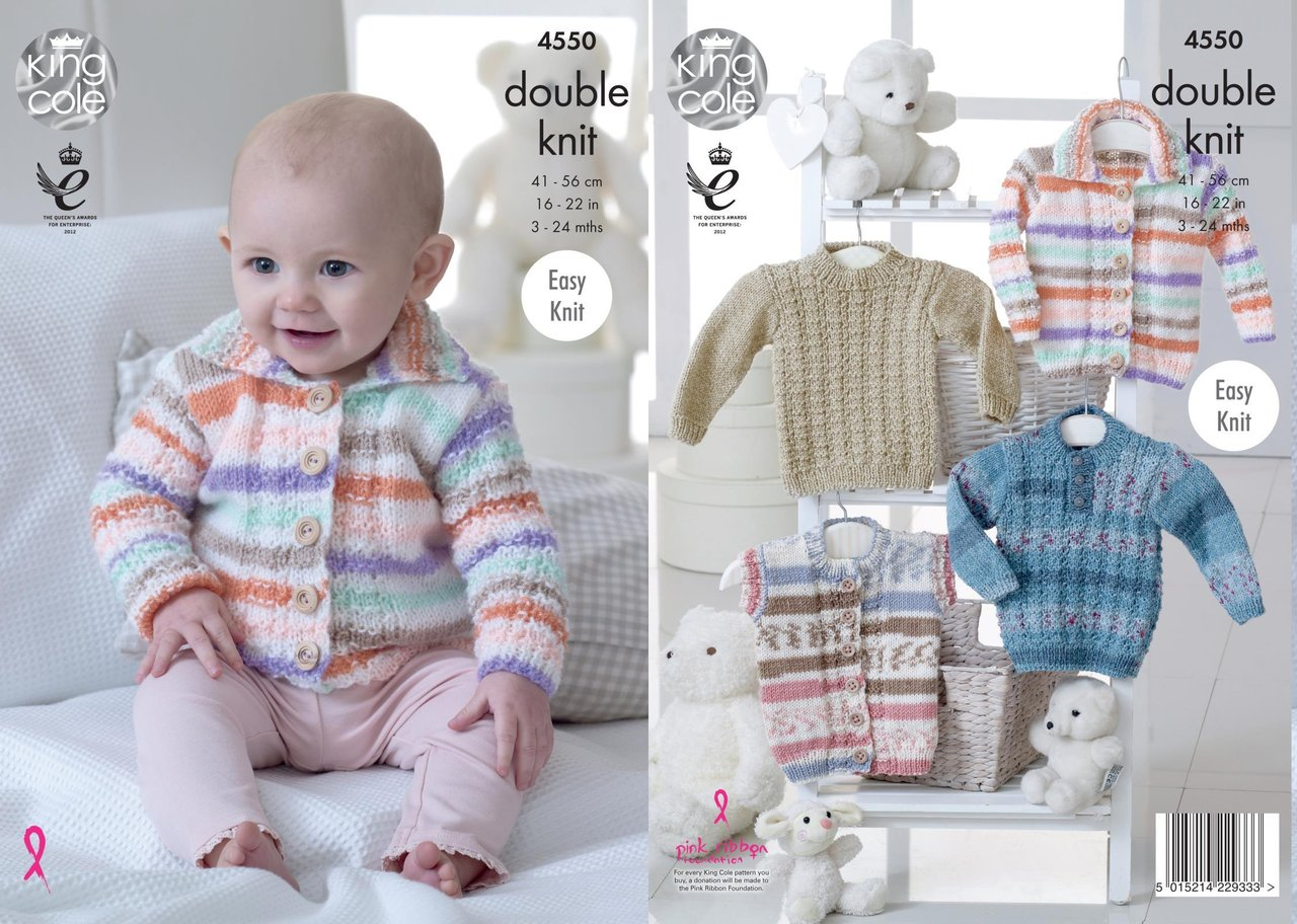 King Cole 4550 Knitting Pattern Babies Cardigan, Gilet and Sweater ...