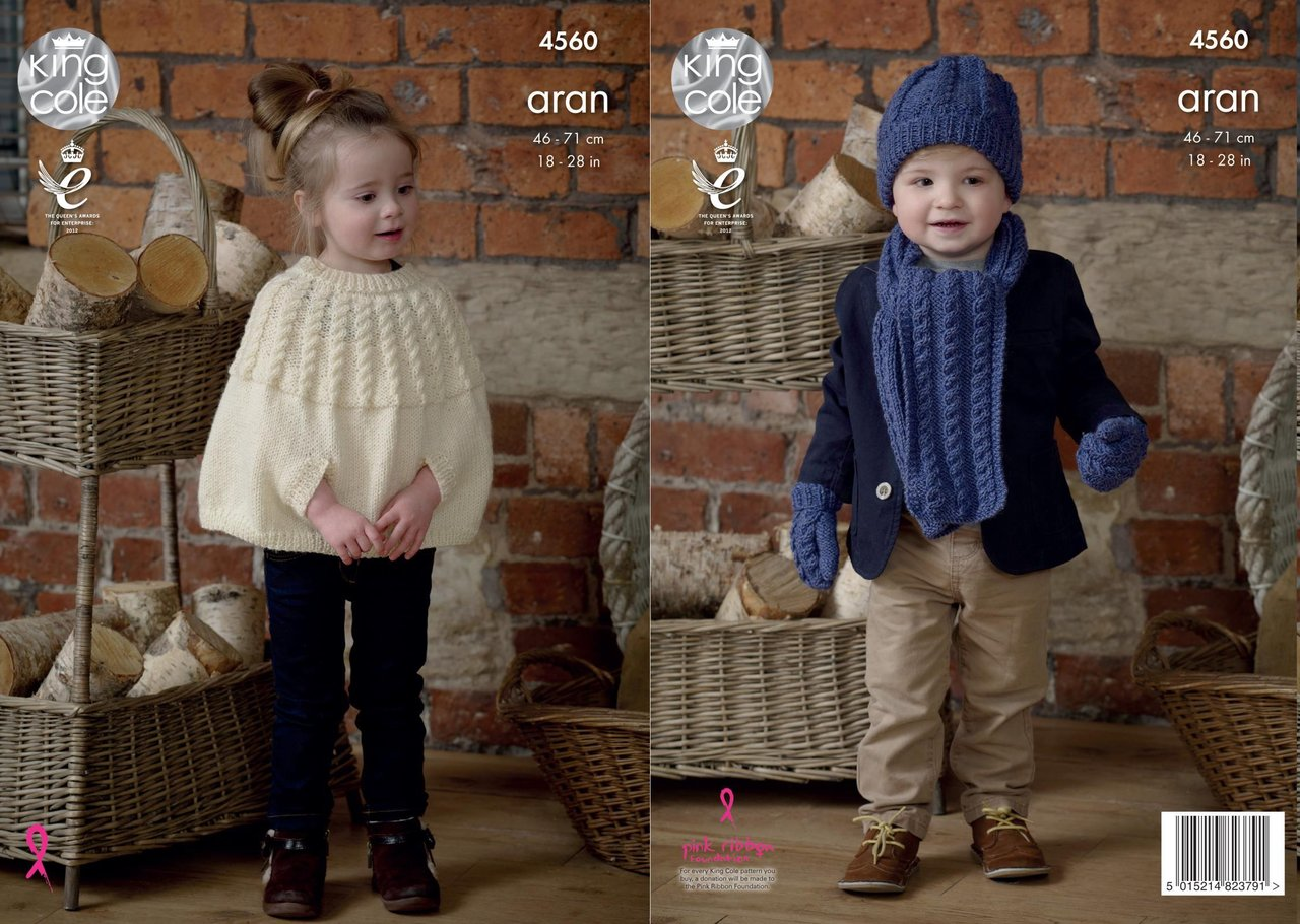 King Cole 4560 Knitting Pattern Childrens Cape Scarf Hat Mittens in ...