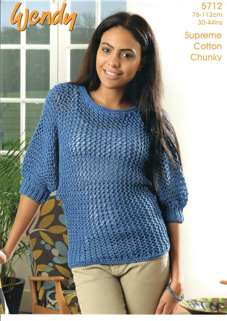 Wendy 5712 Knitting Pattern Ladies Batwing Sweater in Wendy Supreme ...