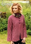 Wendy 5700 Knitting Patttern Ladies Cabled Jacket in Aran with Wool