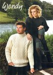 Wendy 5701 Knitting Patttern Unisex Cable Sweater in Traditional Aran