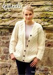 Wendy 5704 Knitting Patttern Ladies V-Neck Cardigan and Cowl in Traditional Aran