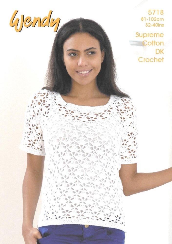 Wendy 5718 Crochet Pattern Ladies Short Sleeve And Sleeveless Tops