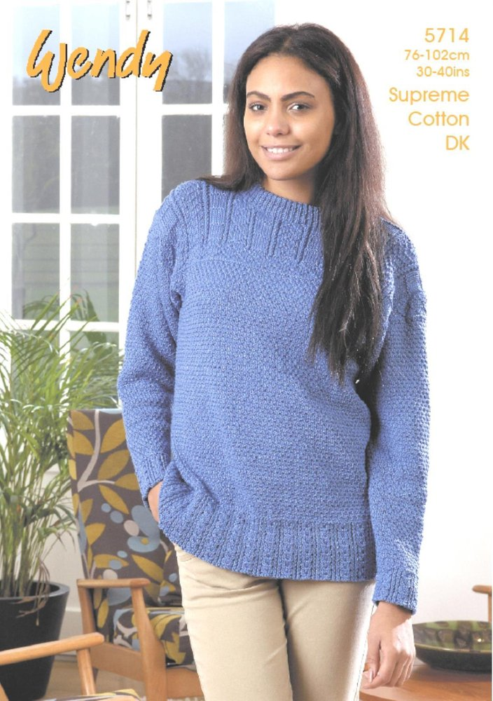 Wendy 5714 Knitting Pattern Ladies Guernsey Style Sweater In Wendy