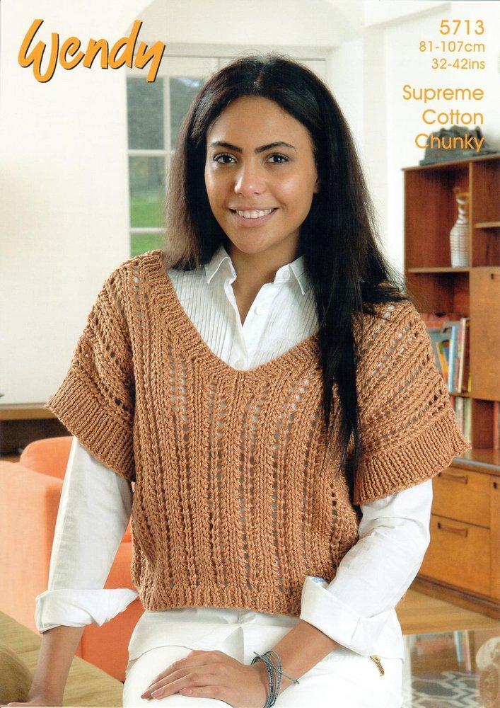 Wendy 5713 Knitting Pattern Ladies V-Neck Crop Top in Wendy Supreme ...