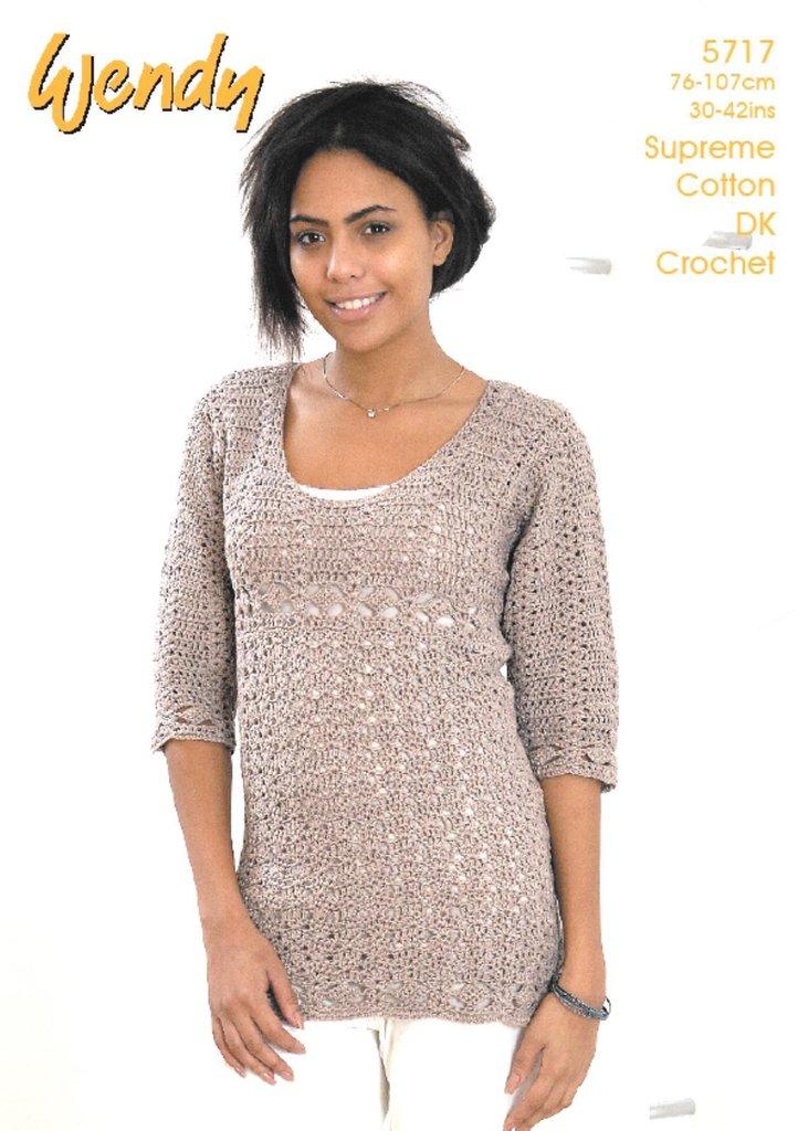Wendy 5717 Crochet Pattern Ladies Tunic in Wendy Supreme Cotton DK ...