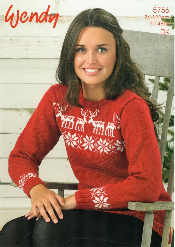 67c158e2f Wendy 5756 Knitting Pattern Ladies Reindeer and Stars Sweater in Wendy  Merino DK - Athenbys