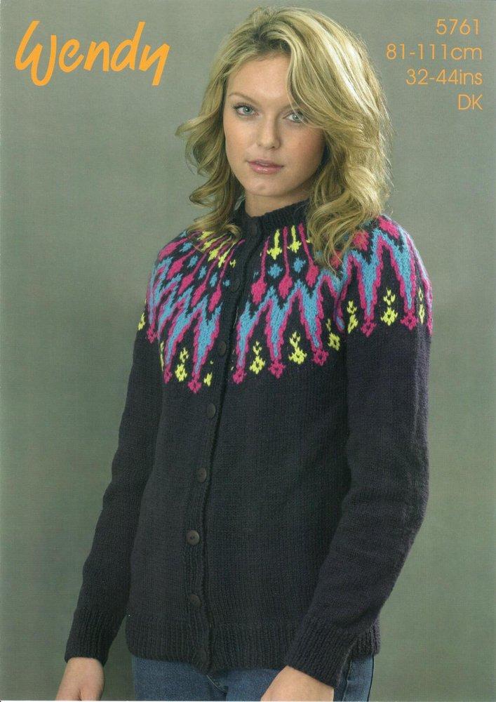 Wendy 5761 Knitting Pattern Ladies Cardigan with Fairisle Yoke in ...