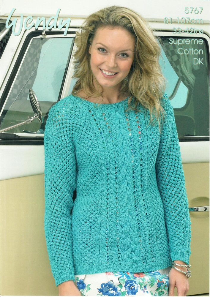 554d8fcd6 Wendy 5767 Knitting Pattern Mesh and Cable Sweater in Wendy Supreme Cotton  DK - Athenbys