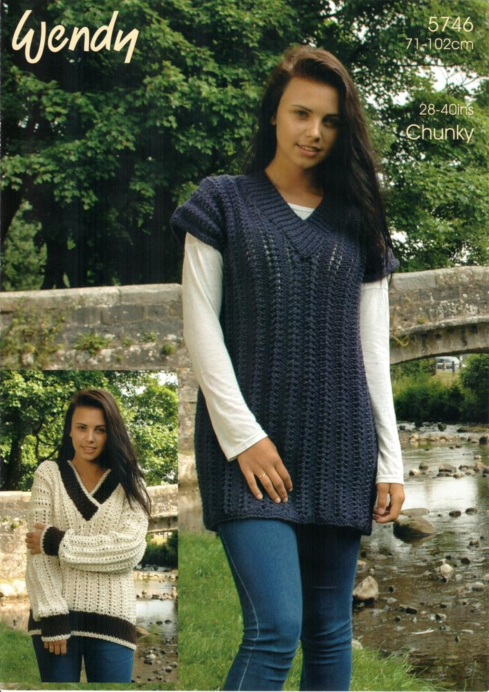 Wendy 5746 Crochet Pattern V Neck Sweater And Tunic In Wendy Mode