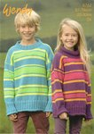 Wendy 5762 Knitting Pattern Child's Striped Sweater with Crew or Polo Neck in Mode DK
