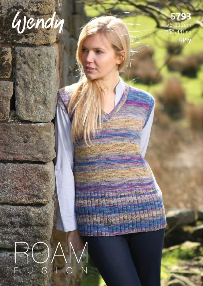 Wendy 5793 Knitting Pattern V And Boat Neck Tops In Roam Roam