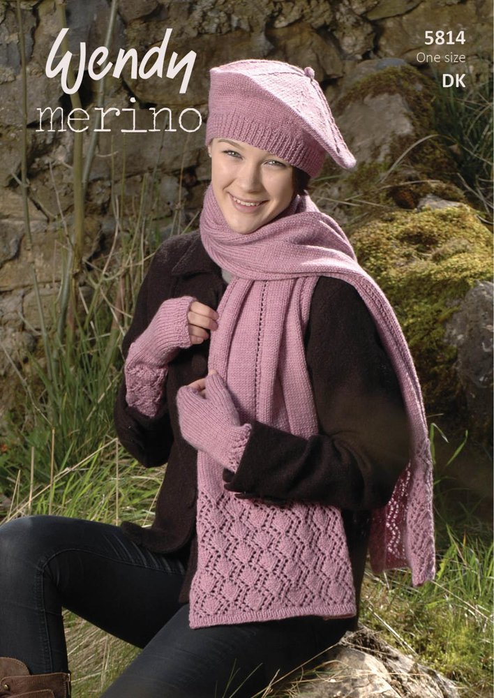 Wendy 5814 Knitting Pattern Ladies Scarf Beret And Mitts In Wendy