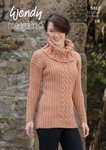 Wendy 5812 Knitting Pattern Ladies Cable and Rib Polo and Cowl Neck Sweaters in Wendy Merino DK