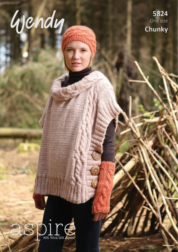 Wendy 5824 Knitting Pattern Ladies Cable Poncho Fingerless Mitts