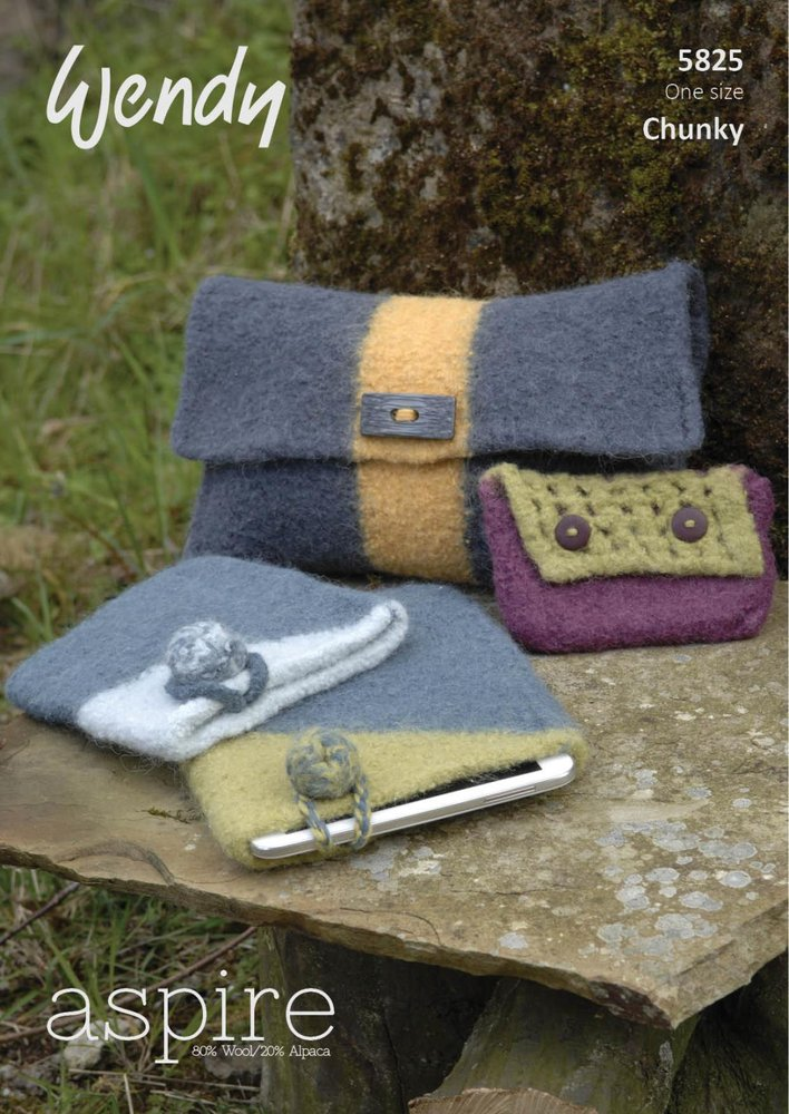 Wendy 5825 Knitting Pattern Felted Accessories, Clutch Bag, Purse ...