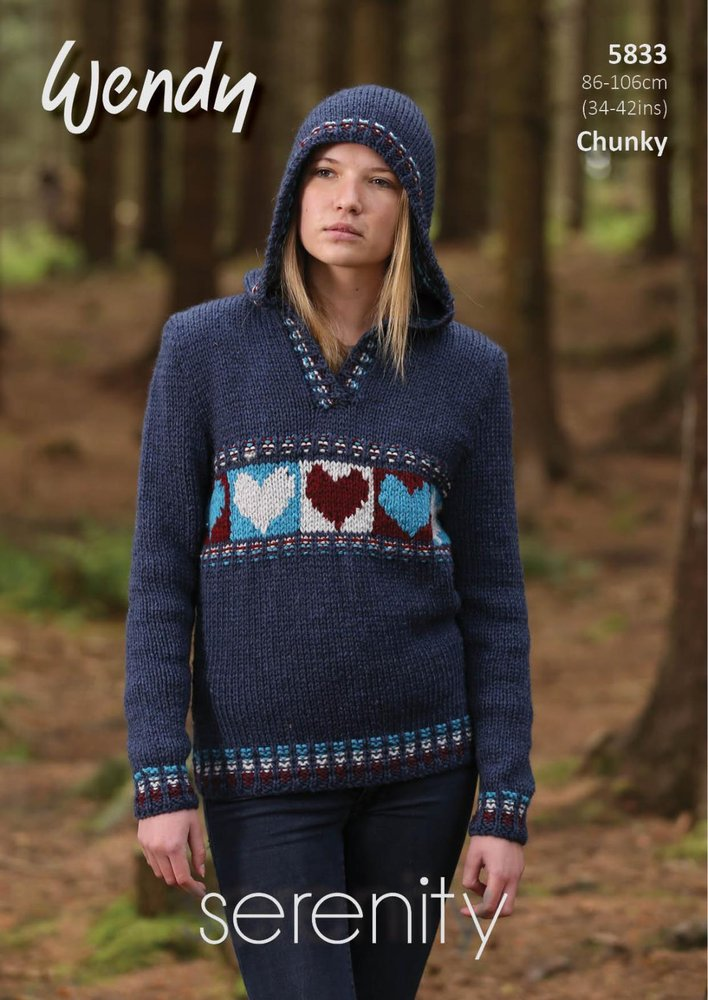 817c84d70cf2 Wendy 5833 Knitting Pattern Ladies Hearts Hoodie and Sweater in ...