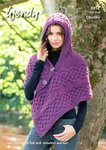 Wendy 5852 Knitting Pattern Ladies Hooded Poncho Hat and Shoulder Warmer in Mode Chunky
