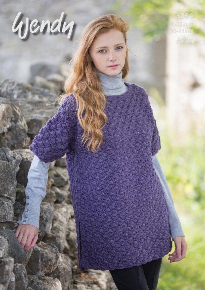 Wendy 5864 Knitting Pattern Ladies Tunic in Aran with Wool - Athenbys