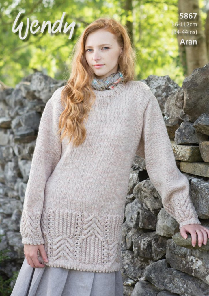 Wendy 5867 Knitting Pattern Ladies Tunic and Sweater in Aran with ...