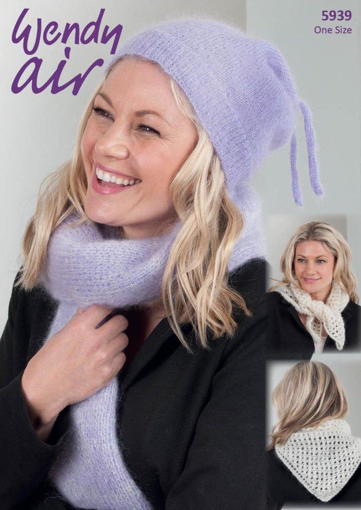 Wendy 5939 Knitting Pattern Ladies Hat Scarf And Cravat In Wendy