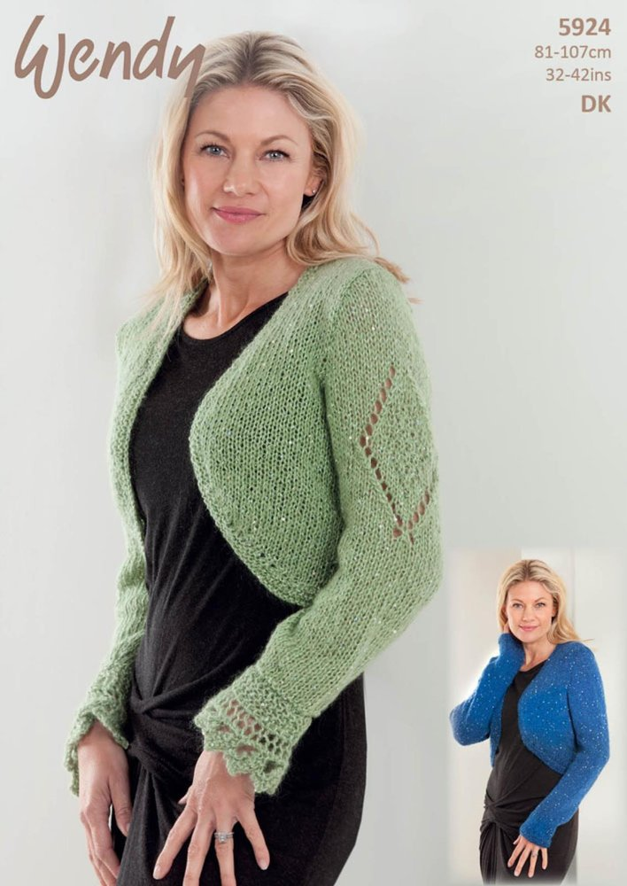 Wendy 5924 Knitting Pattern Ladies Shrug and Bolero in Wendy Celeste ...