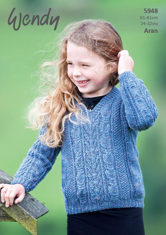 Wendy 5948 Knitting Pattern Childrens Round And V Neck Sweaters In