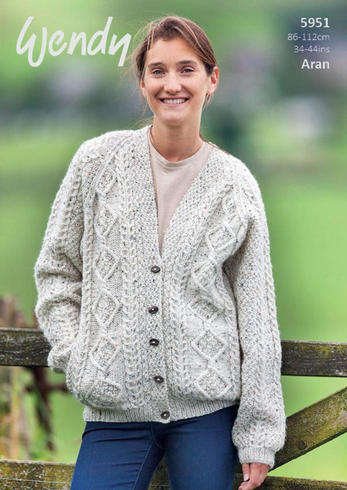 a54949e8de75 Wendy 5951 Knitting Pattern Ladies Cable Cardigan in Aran with Wool -  Athenbys