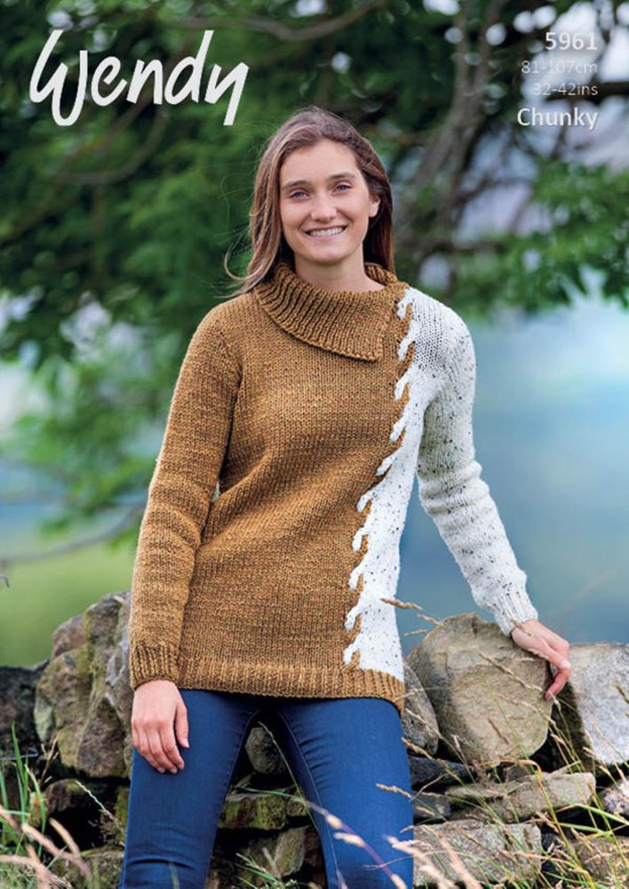 Wendy 5961 Knitting Pattern Ladies Cable Sweater In Mode Chunky