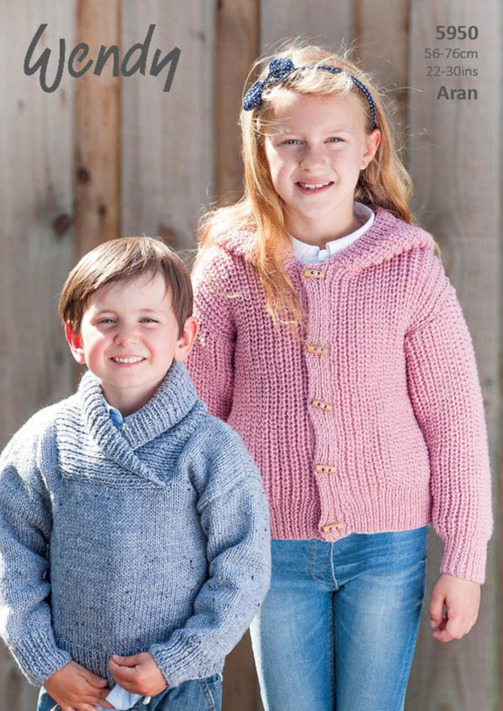 Wendy 5950 Knitting Pattern Childrens Sweater and Hoodie in Aran ...