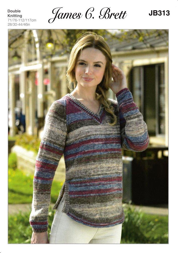 5510ffb2e James C Brett JB313 Knitting Pattern Ladies V Neck Sweater in Woodlander DK  - Athenbys