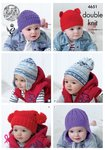 King Cole 4651 Knitting Pattern Babies Childrens Hats in Cherished DK