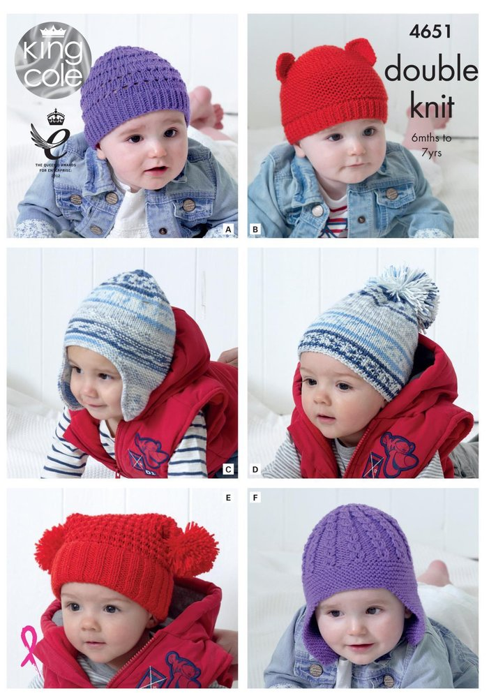 King Cole 4651 Knitting Pattern Babies Childrens Hats in Cherished DK -  Athenbys 66a72b2baf2