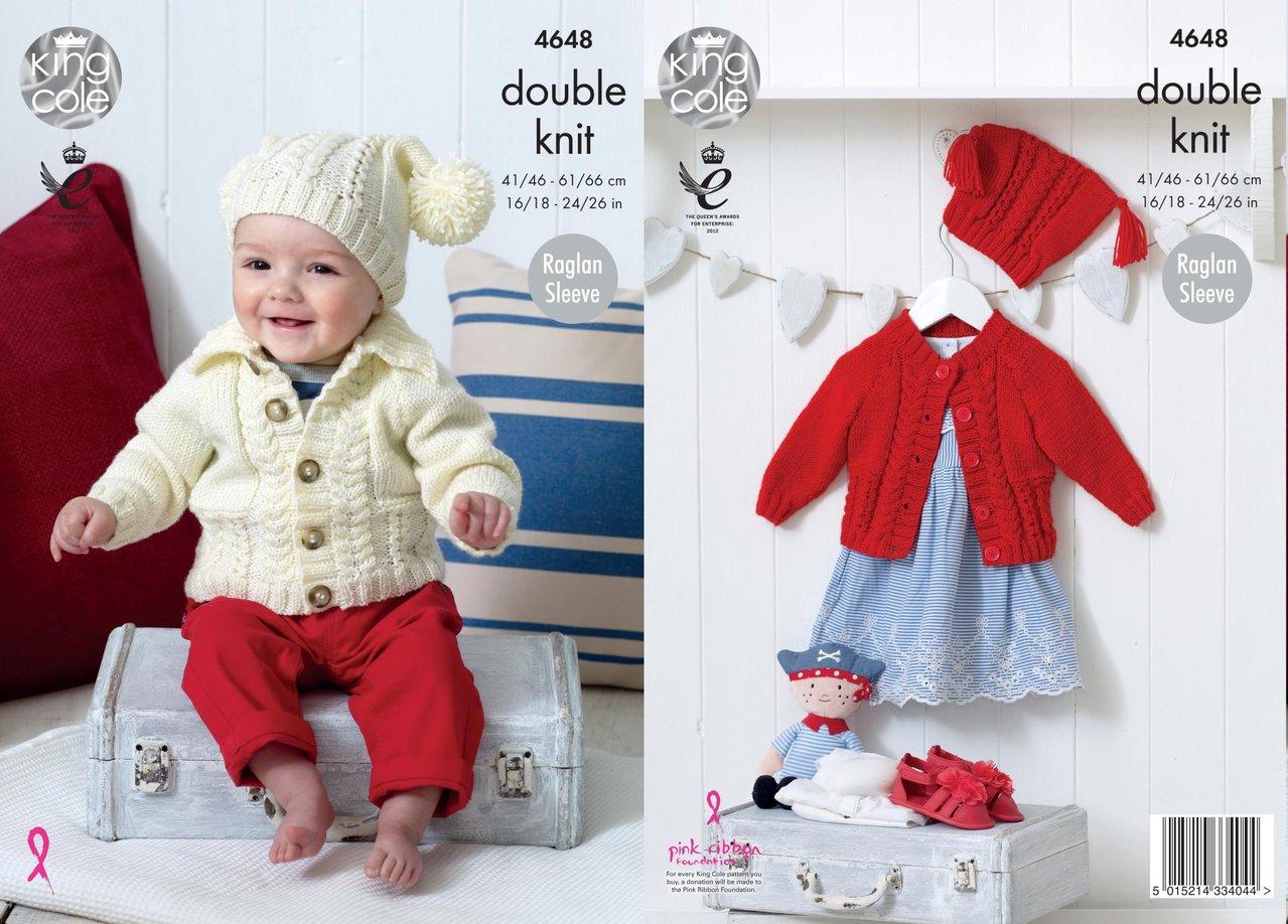 King Cole 4648 Knitting Pattern Babies Childrens Raglan Sleeve ...