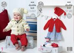 King Cole 4648 Knitting Pattern Babies Childrens Raglan Sleeve Cardigans and Hat  in Cherished DK