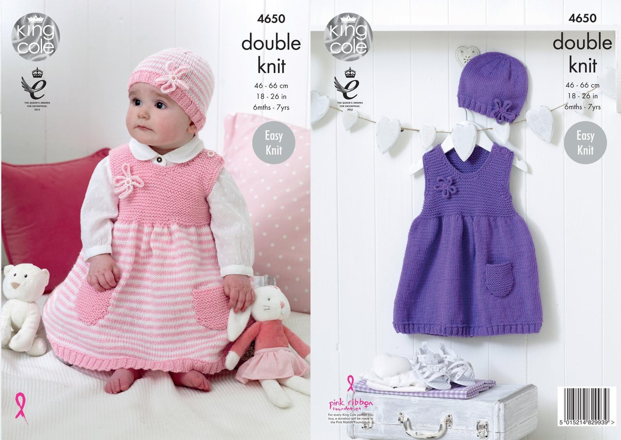 King Cole 4650 Knitting Pattern Babies Girls Dresses and Hats in ...