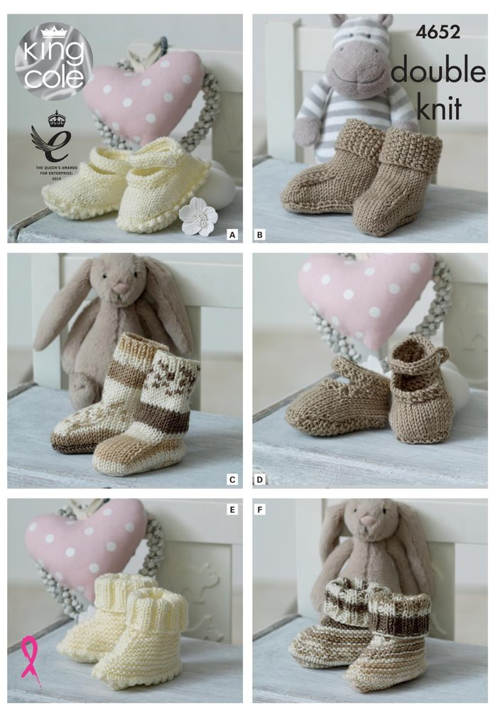 King Cole 4652 Knitting Pattern Babies Socks Booties And Shoes In