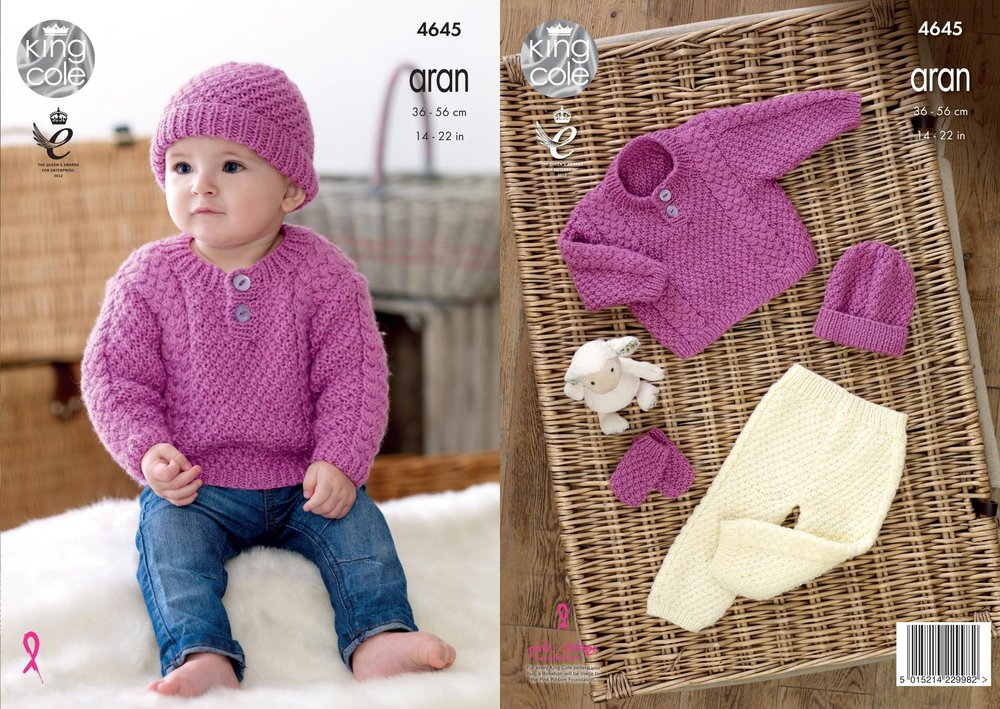 4b02ae1bfb9d King Cole 4645 Knitting Pattern Baby Sweater
