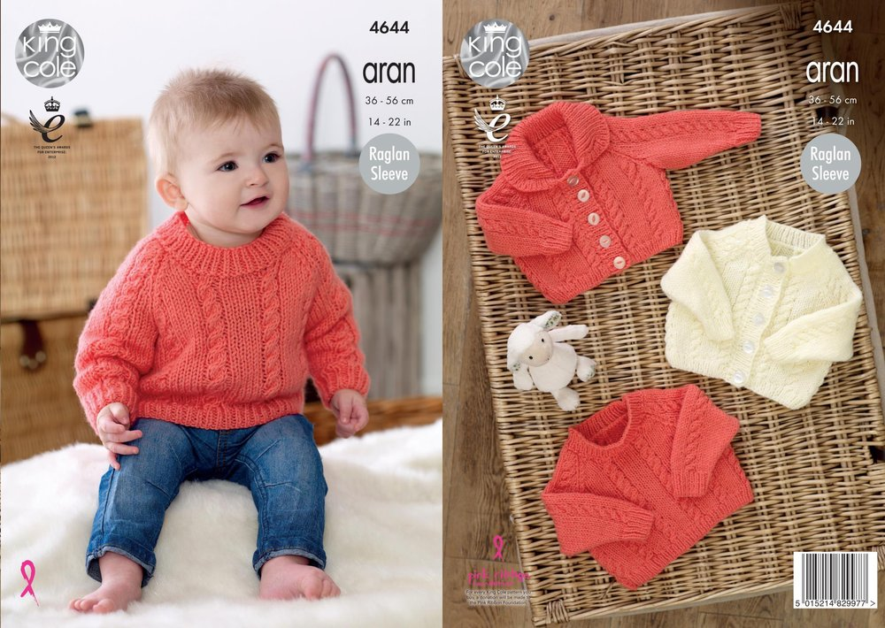 741f6637a884 King Cole 4644 Knitting Pattern Baby Cardigans and Sweater in King ...