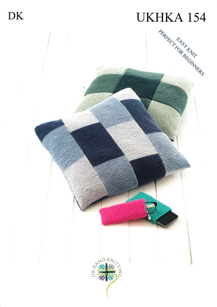 Ukhka 154 Knitting Pattern Easy Knit Cushion Covers Glasses Case