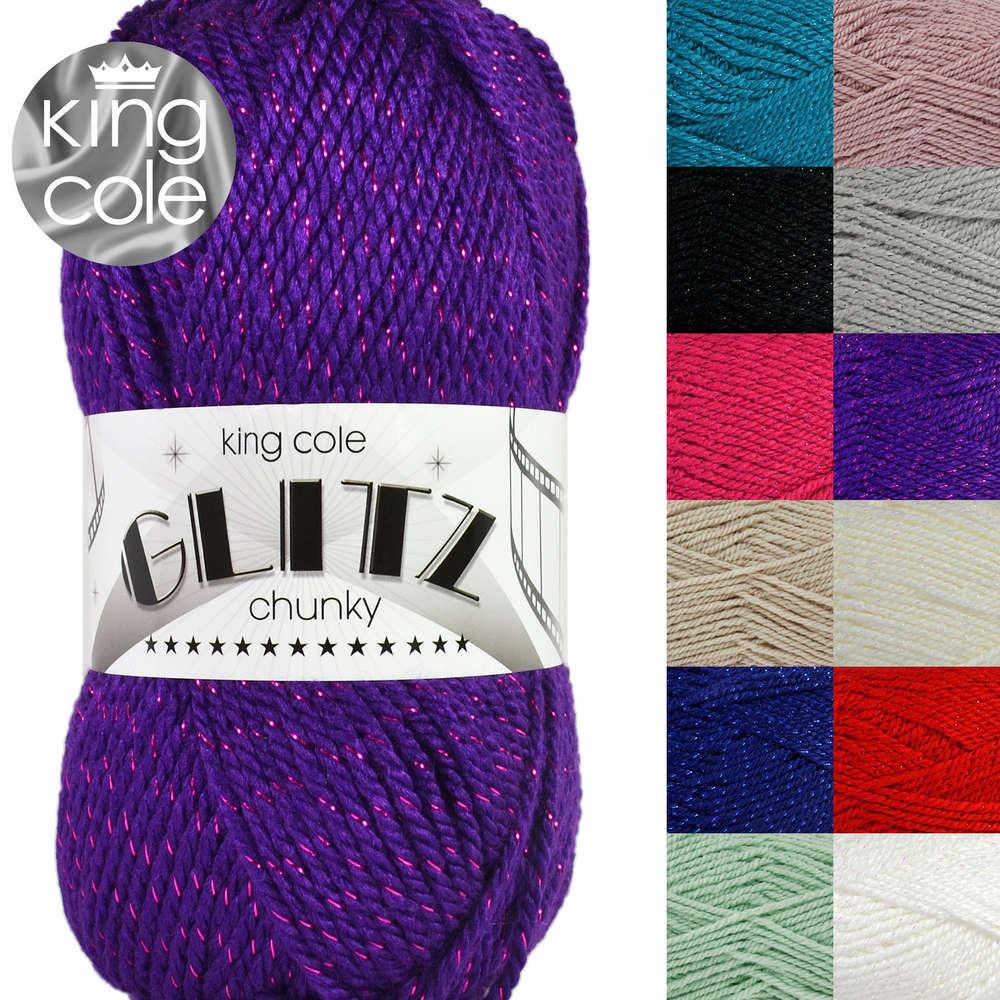 3f30e6e13b2acb King Cole Glitz Chunky Knitting Yarn with Metallic Thread